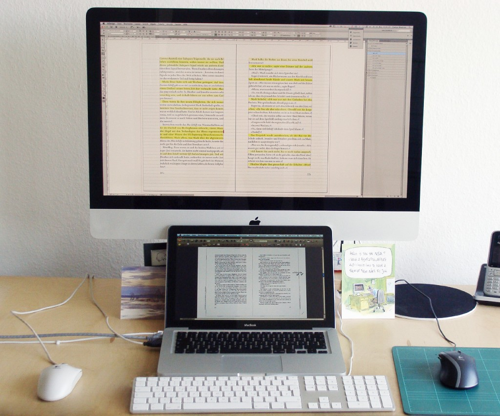 Arbeitsplatz zur Korrektur-Ausführung mit PDFs.